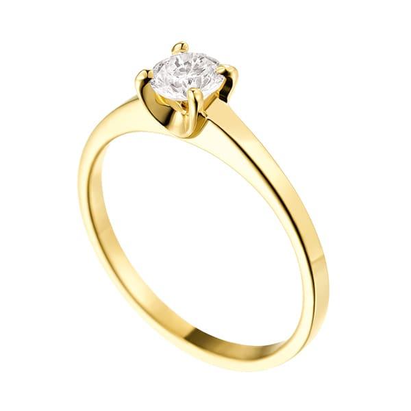 Bague diamant or jaune à griffes