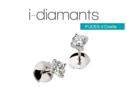 puces d'oreille diamants