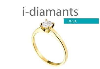 Solitaire diamant or jaune Deva