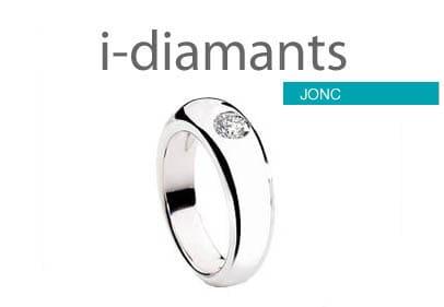 Bague jonc diamant serti clos