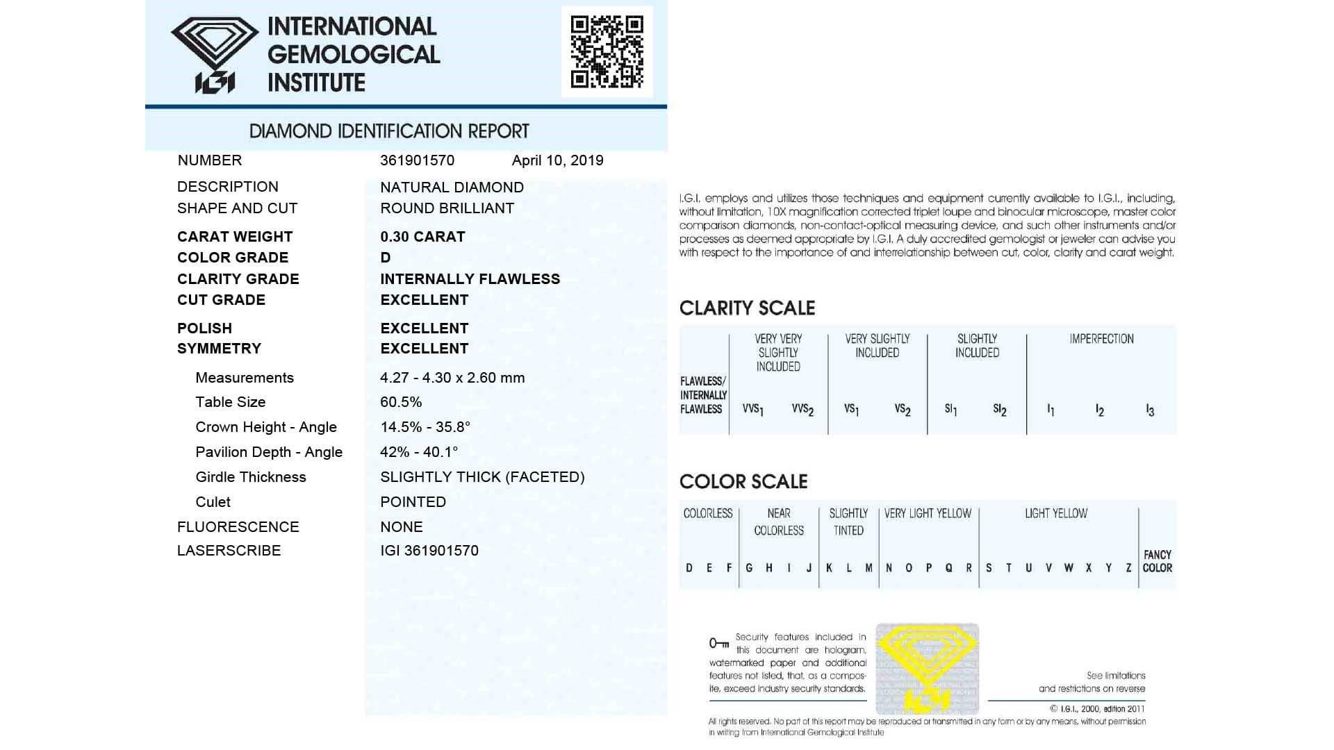 diamant certificat IGI