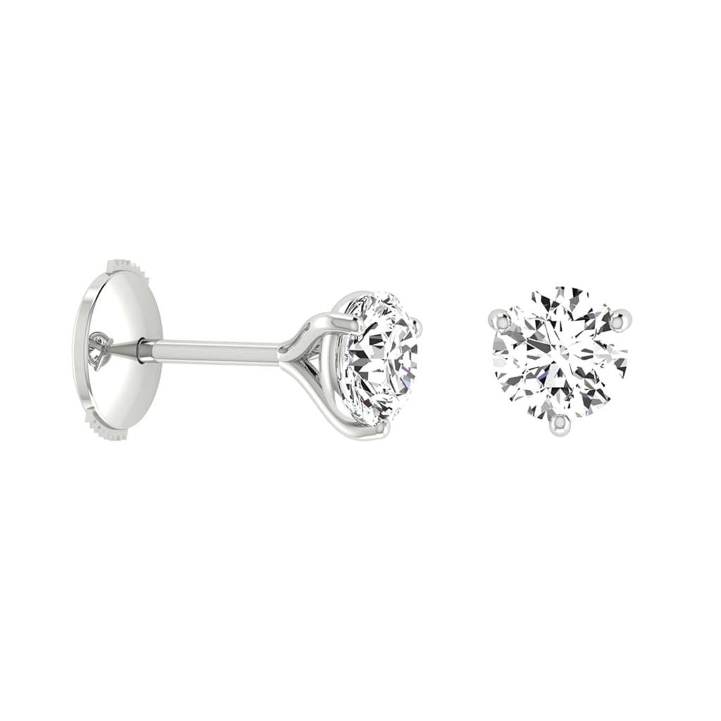 Boucles d'Oreilles  Classique  Diamant 3 GRIFFES