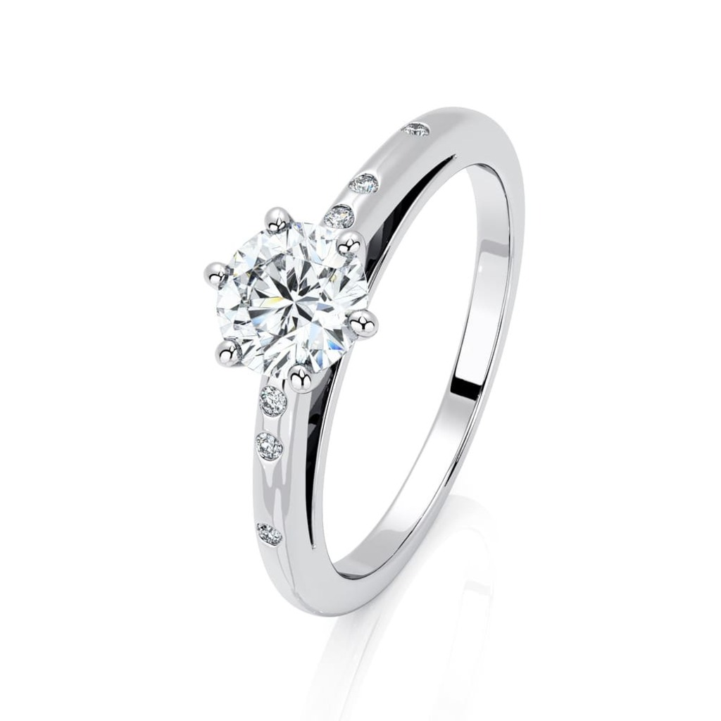 Engagement ring Paved  Diamond 6 Claws Bi-LED