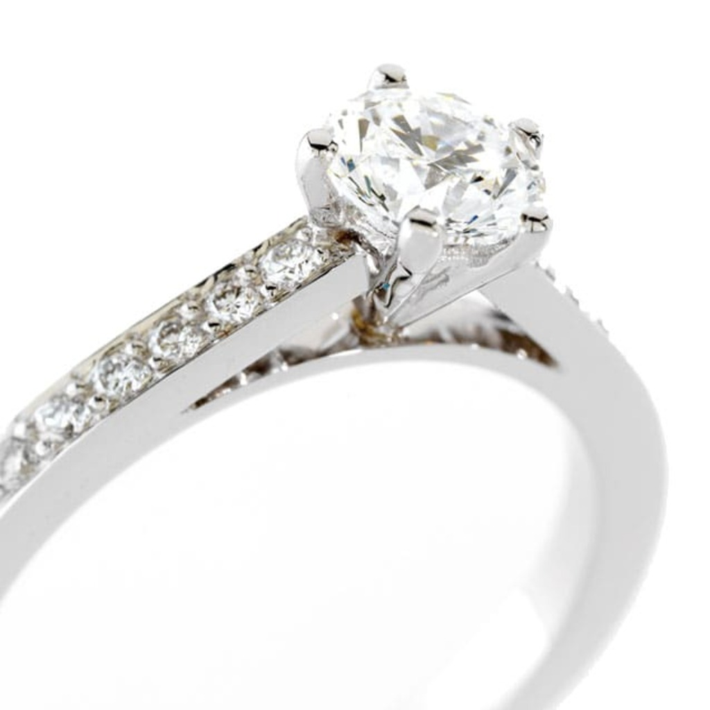 Engagement ring Paved  Diamond SOLITAIRE 5  +