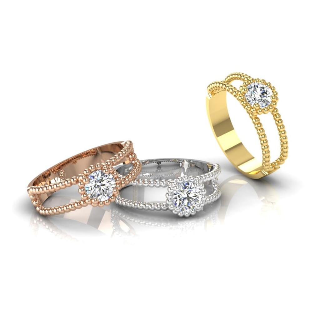 Solitaire  Classique  Diamant 2 anneaux perlés d'or