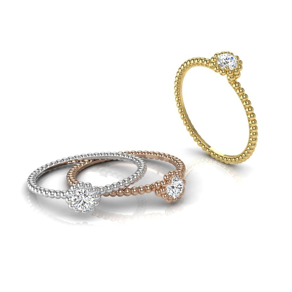 Solitaire  Classique  Diamant Perlé d'or