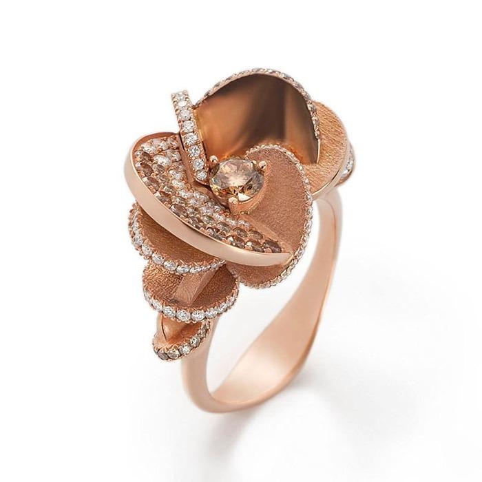 achat Bague  Créateurs Diamant or Rose des Sables