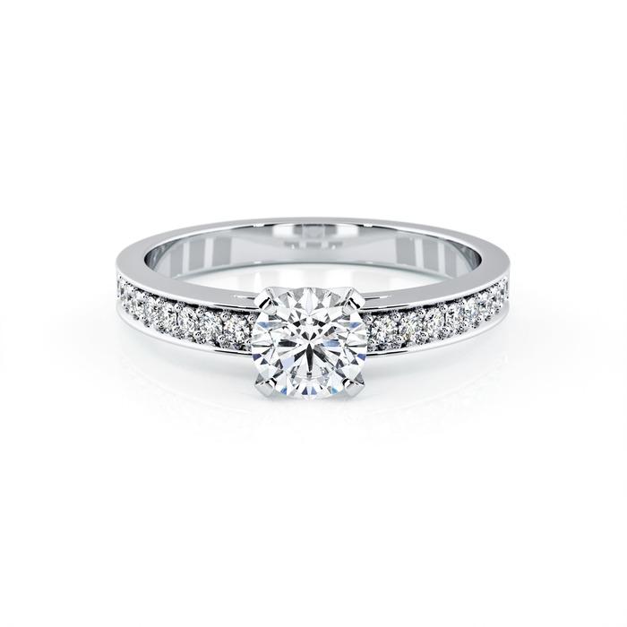 achat Solitaire  Classique avec pavage  Diamant or BERCEAU Pavé