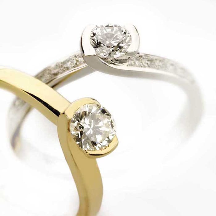 achat Solitaire  Classique avec pavage  Diamant or NOUVELLES ETREINTES avec pavage