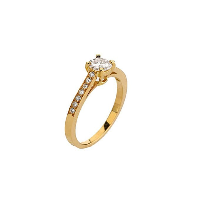 achat Solitaire  Classique avec pavage  Diamant or PARIS Pavé Premium 0.45 carat