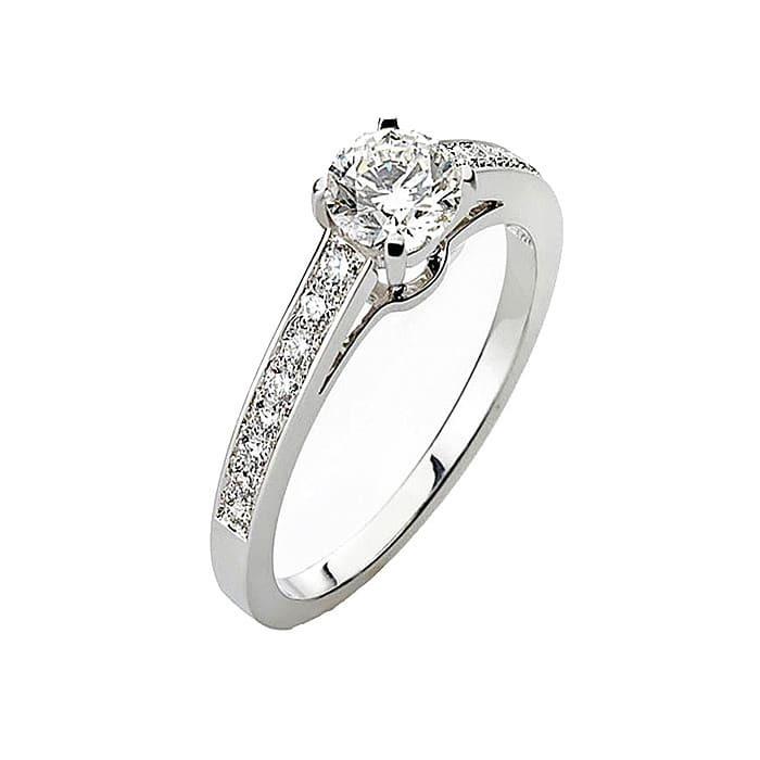 achat Solitaire  Classique avec pavage  Diamant or PARIS Premium 2 0.75 carat