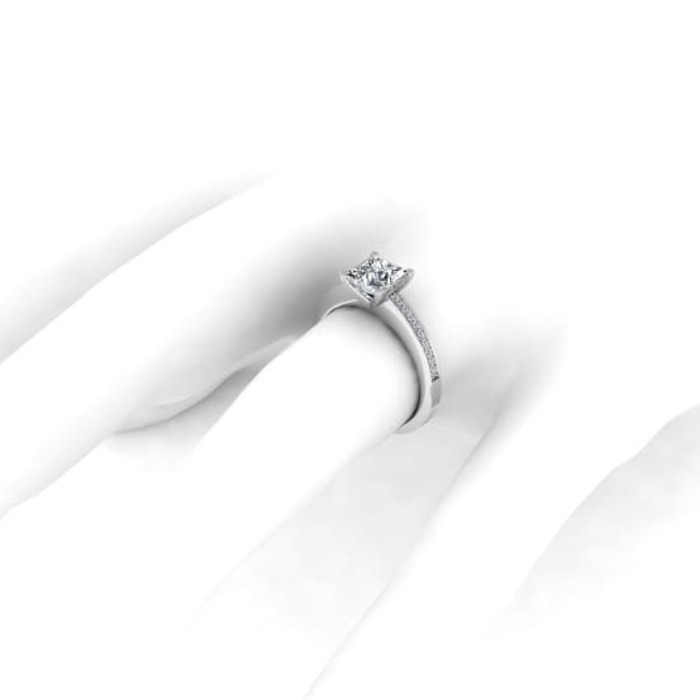 purchase Engagement ring Paved  Diamond Gold Royal Princess with paved diamonds