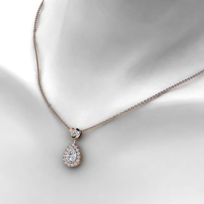 acheter Pendentif Classique  Diamant or entourage, POIRE