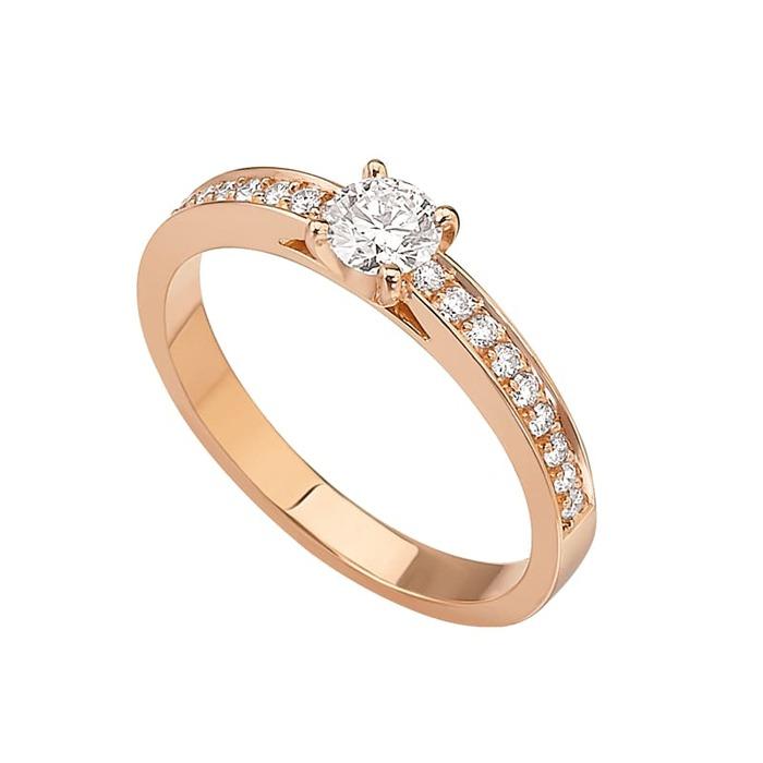 Bague  Classique  Diamant or Or Rose