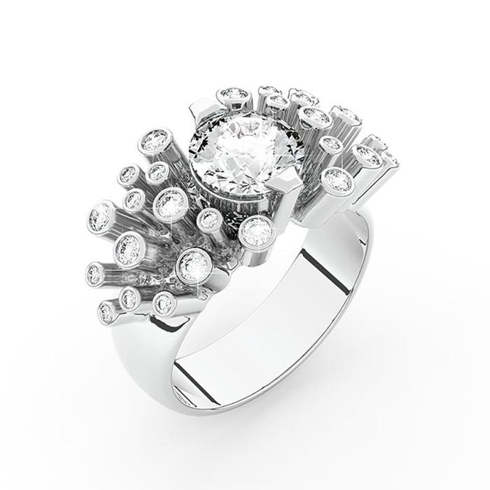 Bague  Créateurs Diamant or FEU d' ARTIFICE