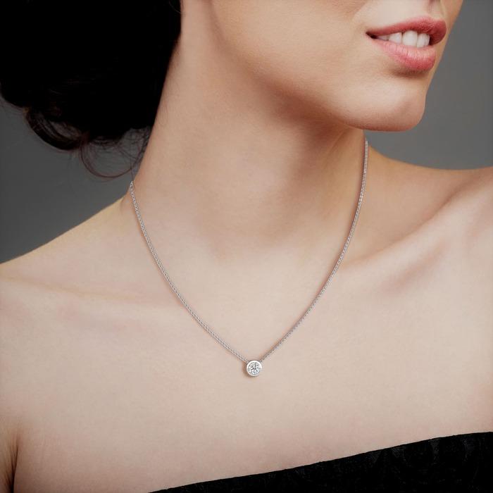 bijoux Pendentif Classique  Diamant or serti clos ETERNITE
