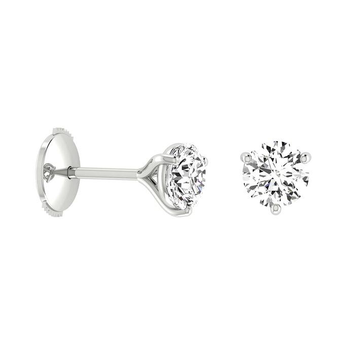 Boucles d'Oreilles  Classique  Diamant or 3 GRIFFES