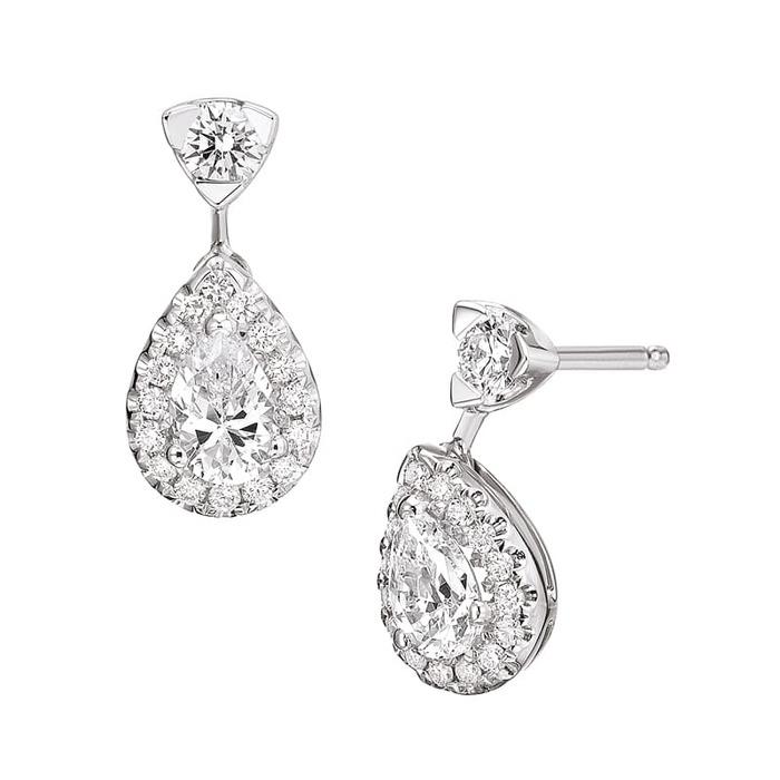 Earrings Classics Diamond Gold Micro-paved PEAR