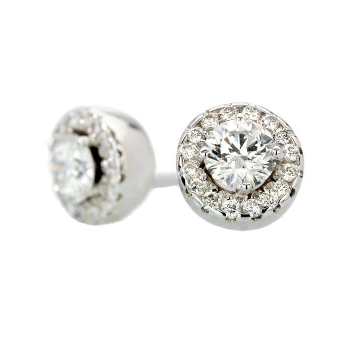 Boucles d'Oreilles  Classique  Diamant or pavées or blanc TENTATION