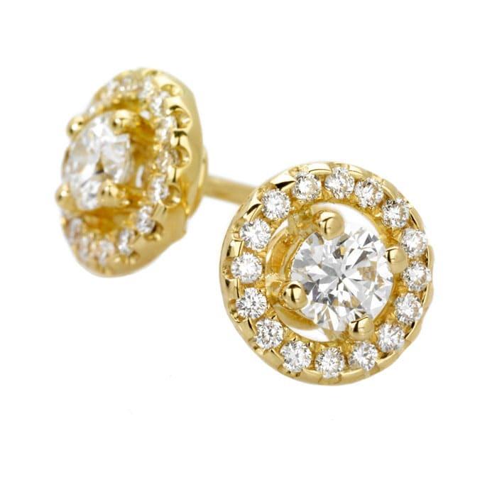 Boucles d'Oreilles  Classique  Diamant or pavées or jaune TENTATION