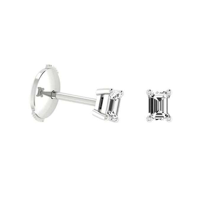 Boucles d'Oreilles  Classique  Diamant or Taille Emeraude