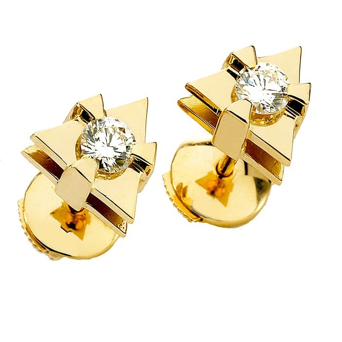 Earrings Designer Diamond Gold LOVE TRIANGLE by Sandro