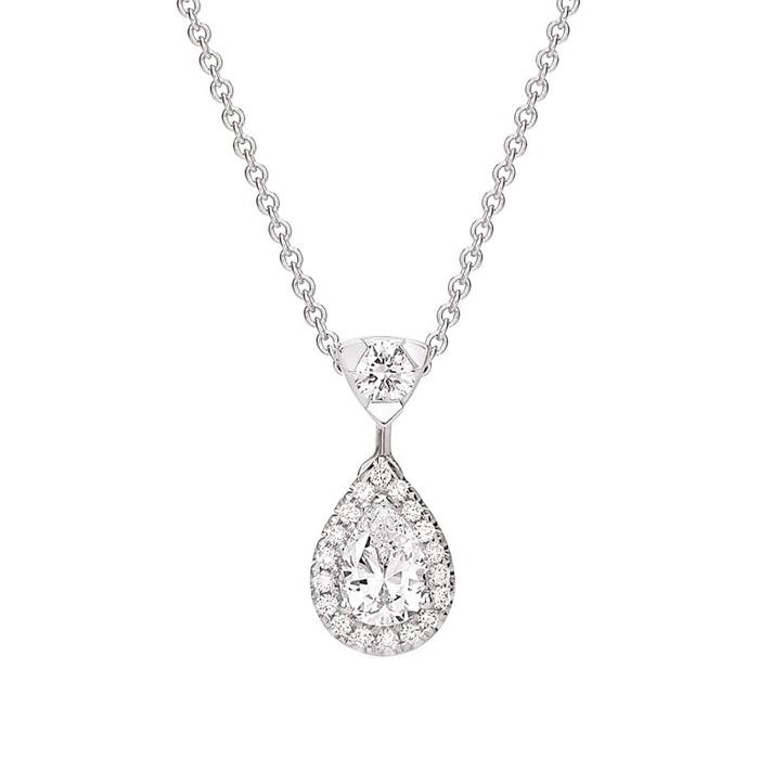Pendentif Classique  Diamant or entourage, POIRE