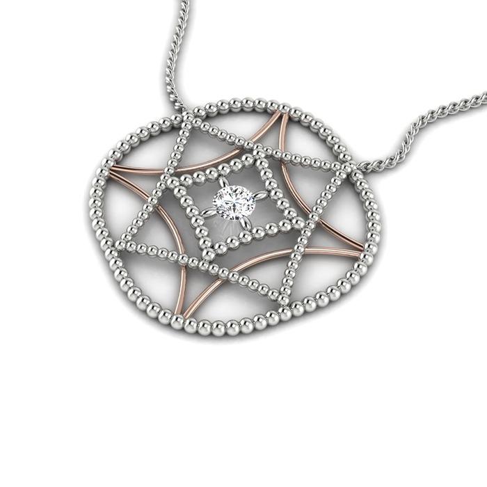 Pendentif Classique  Diamant or Perles d'or 2