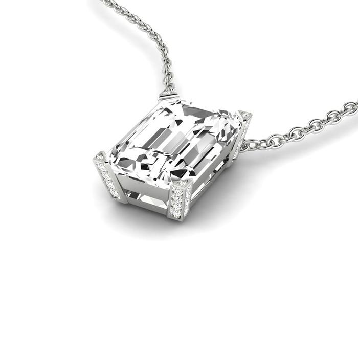 Pendentif Classique  Diamant or taille EMERAUDE
