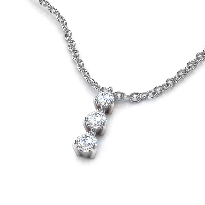 Pendentif Classique  Diamant or TRILOGIE