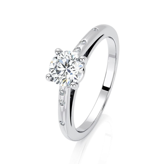Engagement ring Paved  Diamond Gold 4 Claws Bi-LED