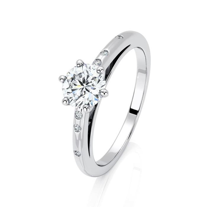 Solitaire  Classique avec pavage  Diamant or 6 Griffes Feux Bi-LED