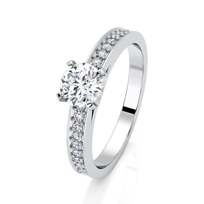 Solitaire  Classique avec pavage  Diamant or BERCEAU Pavé