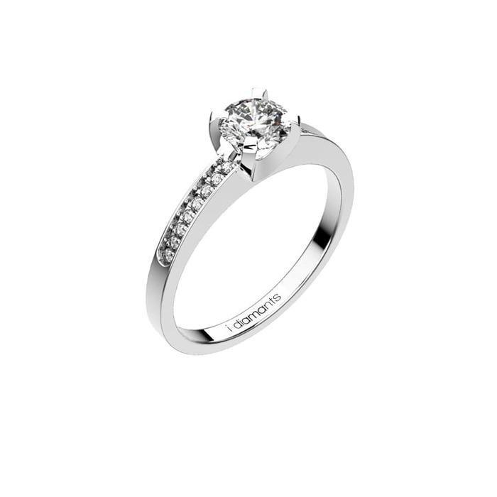 Solitaire  Classique avec pavage  Diamant or DEVA Pavé