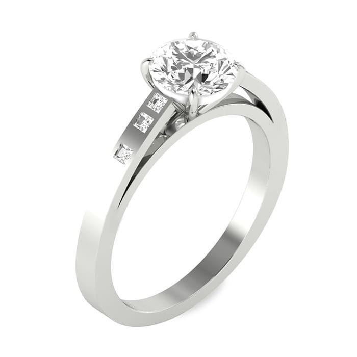 Engagement ring Paved  Diamond Gold Bi-LED Princess Fire