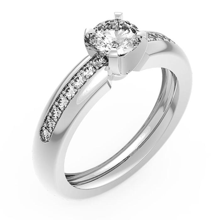 Solitaire  Classique avec pavage  Diamant or NOSOLO Pavé