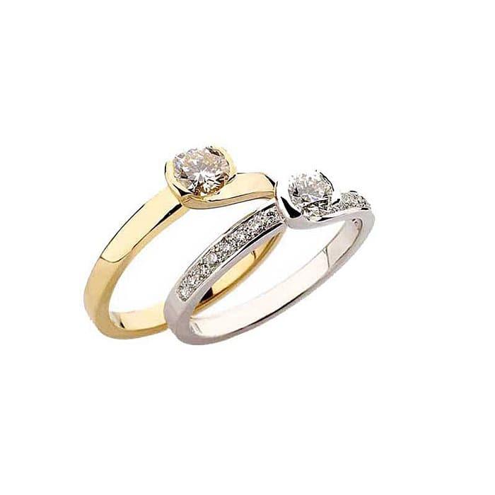 Solitaire  Classique avec pavage  Diamant or NOUVELLES ETREINTES avec pavage
