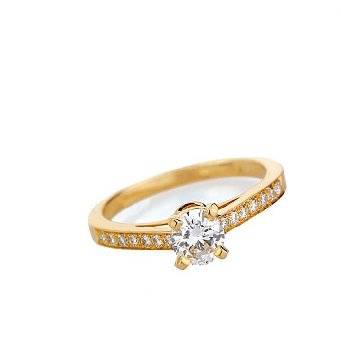 Solitaire  Classique avec pavage  Diamant or PARIS Pavé Premium 0.45 carat