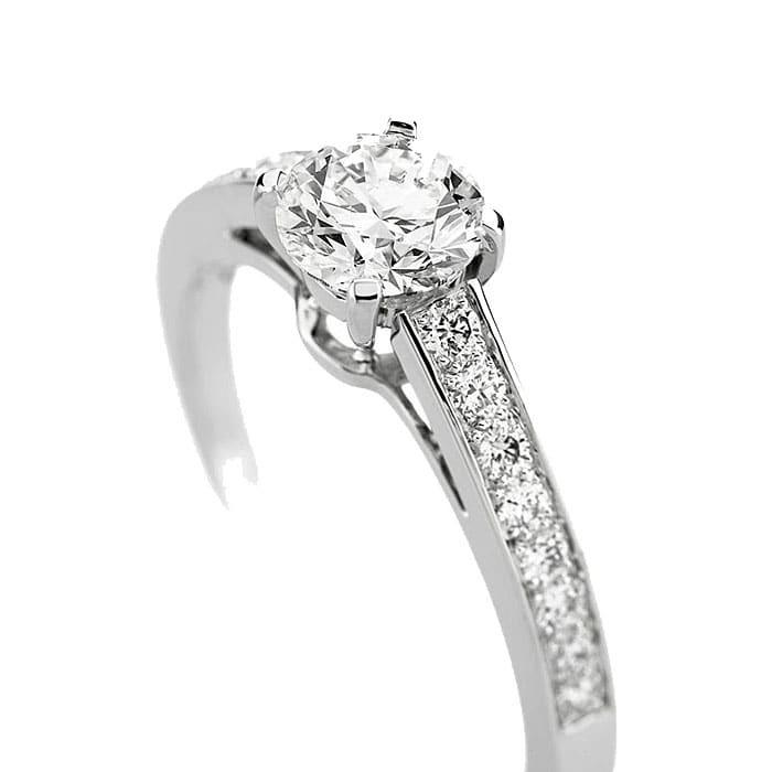 Solitaire  Classique avec pavage  Diamant or PARIS Premium 2 0.75 carat