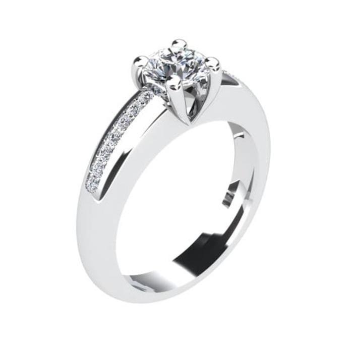 Solitaire  Classique avec pavage  Diamant or PARISOLO Micropavé