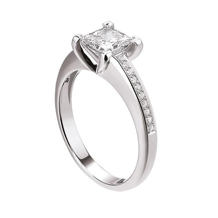 Engagement ring Paved  Diamond Gold Royal Princess with paved diamonds