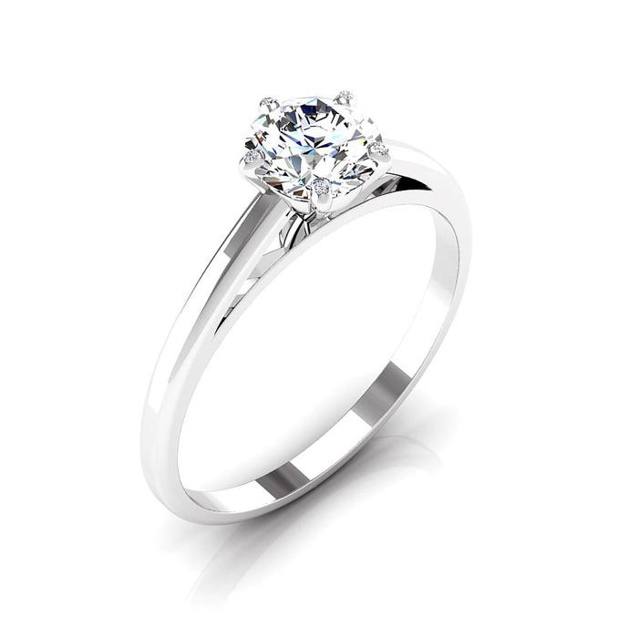 Solitaire  Classique  Diamant or 5 Griffes à signature Led en bout de griffes / centre 66
