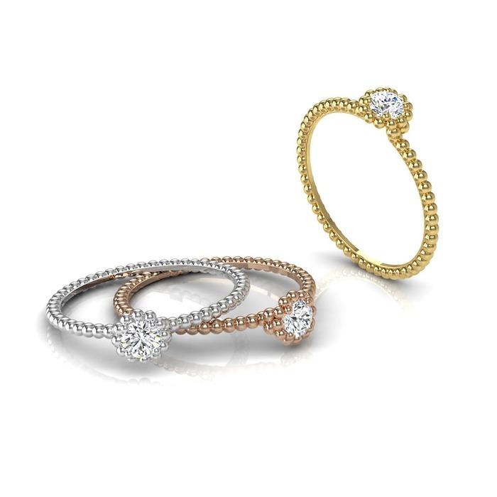 Solitaire  Classique  Diamant or Perlé d'or