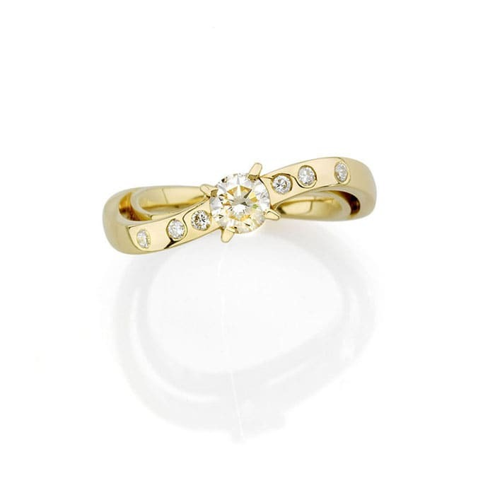 sell Ring Designer jewellery Diamond Gold LIGHT GLANCE N°3