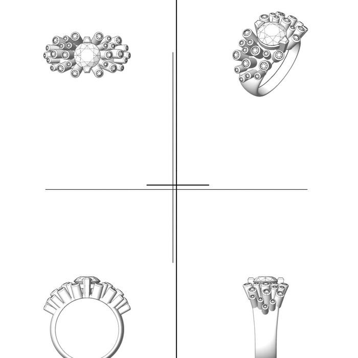 vente Bague  Créateurs Diamant or FEU d' ARTIFICE