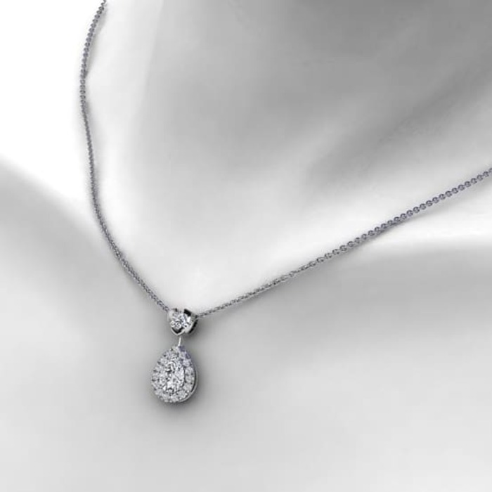 vente Pendentif Classique  Diamant or entourage, POIRE
