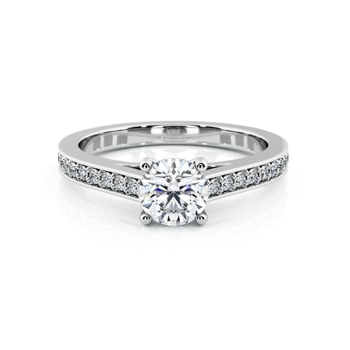 vente Solitaire  Classique avec pavage  Diamant or Karma 4 Griffes avec pavage