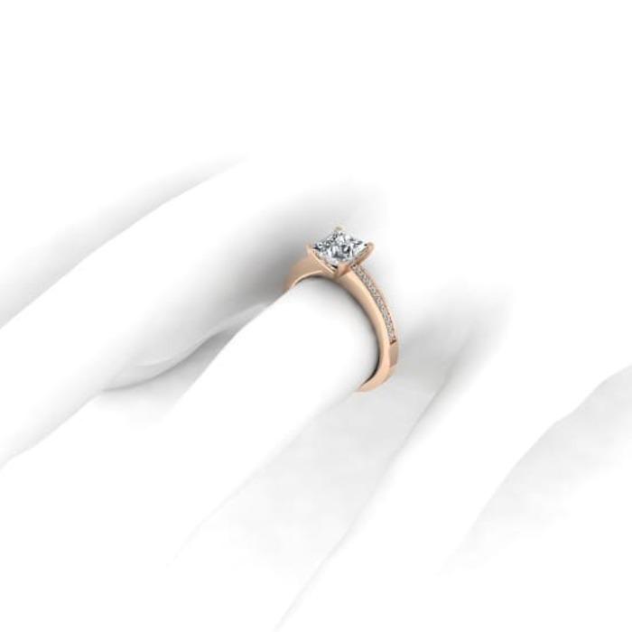 sell Engagement ring Paved  Diamond Gold Royal Princess with paved diamonds
